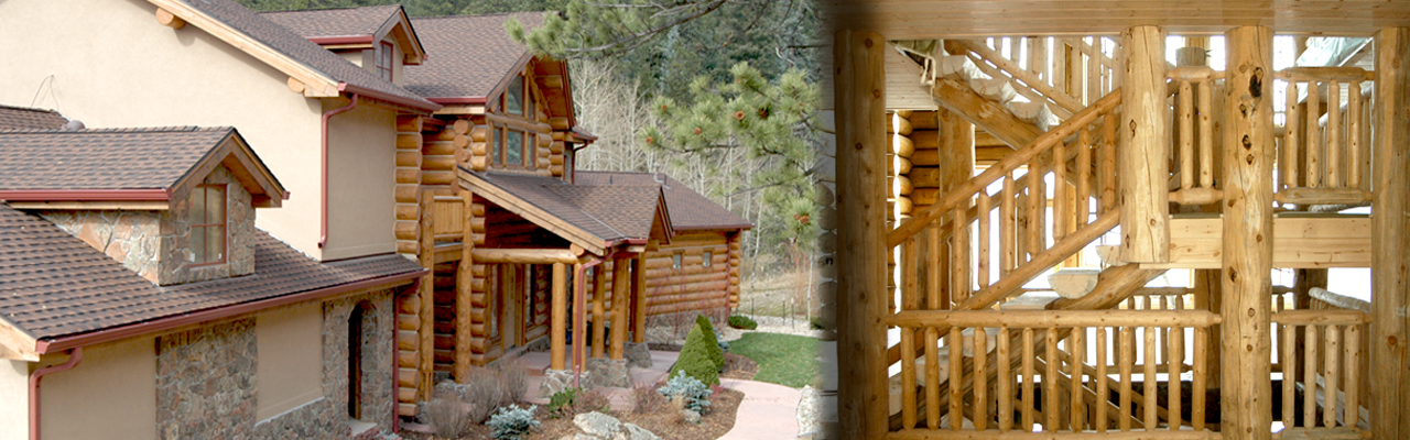 log home builders in Colorado, hand hewn log railings, custom log homes, log fireplace mantels, log furniture, log products, log railing fabricators